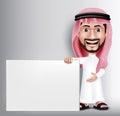 Realistic Smiling Handsome Saudi Arab Man Character Royalty Free Stock Photo
