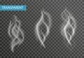 Realistic smoke set on transparent background. Cigarette , vapor effect. Vector illustration