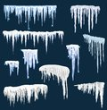 Realistic snow icicles. Icicle ice with snowcap on top. Winter snowing borders for christmas cards design. Frost neve