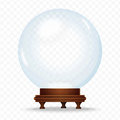 Realistic Snow sphere globe isolated on the transperant background. Magic crystal glass ball. Christmas snow globe. Royalty Free Stock Photo