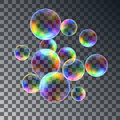 Realistic soap bubbles with rainbow reflection set   illustration Royalty Free Stock Photo