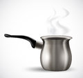 Realistic steel coffee pot on white Stock Photos