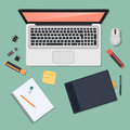 Realistic technology workplace organization. Top view of color work desk with laptop, smartphone, tablet pc, diary Royalty Free Stock Photo