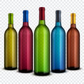 Realistic transparent glass wine bottles isolated on checkered background vector set