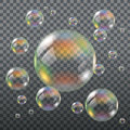 Realistic Transparent Soap Bubbles Royalty Free Stock Photo