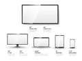 Realistic tv screen lcd monitor laptop tablet and and mobile phone templates set computer and communication display vector Royalty Free Stock Image