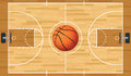 Realistic vector basketball court and ball a hardwood textured with in the center eps file contains transparencies Stock Photography