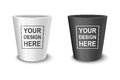 Realistic vector black and white empty flower pot set. Closeup isolated on white background. Design template for
