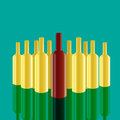 Realistic vector bottles with green background. Royalty Free Stock Photo