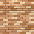 Realistic Vector brick wall seamless pattern. Flat wall texture. Brown and Yellow textured brick background for print, paper, Royalty Free Stock Photo