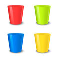 Realistic vector empty flower pot set, bright colors - red, green, blue and yellow . Closeup on white