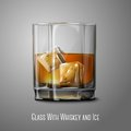 Realistic vector glass with smokey scotch whiskey and ice isolated on gray background for design and branding transparent Royalty Free Stock Photography