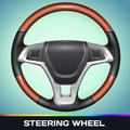 Realistic vector steering wheel on blue background Stock Photo