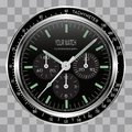 Realistic watch clock chronograph face stainless steel black dial on checkered pattern background vector