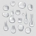Realistic water drops on transparent background. Water droplets, rain drops.