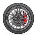 Realistic wheel alloy with tire radial and break disk for sport racing car on white background vector Royalty Free Stock Photo