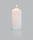 Realistic white candle with fire on transparent background. Vector.