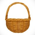 Realistic wicker basket isolated on white backgrou background vector illustration Royalty Free Stock Photography