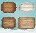 4 realistic wooden signs set. Decoration elements for christmas. Vintage style. Vector