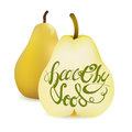 Realistic Yellow Pear and Half Sliced Pear with Lettering Calligraphy text Health Food. Vector Illustration Isolated On White Back Royalty Free Stock Photo