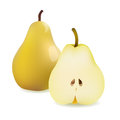 Realistic Yellow Pear and Half Sliced Pear. Vector Illustration Isolated On White Background icon Royalty Free Stock Photo