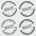 Reality insignia stamp isolated on white.