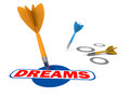 Realize dreams concept dart hitting dreams word graphic target white background Royalty Free Stock Photography