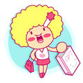 Realize the it girl shopping style girl character design series Royalty Free Stock Image