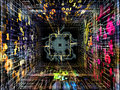 Realms of numbers number tunnel series creative arrangement cpu chip colorful and fractal elements in perspective as a concept Royalty Free Stock Photos