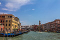 Realto bridge over the grand canal in venice italy beautiful of Royalty Free Stock Photo