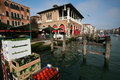 Realto market in venice docks of rialto on grand canal italy Royalty Free Stock Photography