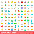 100 realtor icons set, cartoon style