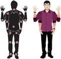 Realystic character in shirt, animation ready vector doll with separate joints. Gestures and joints