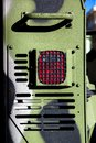 The rear brake signal of an armored military vehicle.