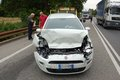 Rear end collision the fiat car after a in milan urban area italy the driver of the car failed to stop when an articulated lorry Royalty Free Stock Image