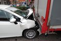 Rear end collision a in milan urban area italy the car failed to stop when the articulated lorry stopped at the traffic the car s Stock Photos
