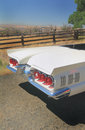 Rear end ford thunderbird convertible the of a classic shiny white sitting in the sunshine on a country road by a corral shallow Royalty Free Stock Photo
