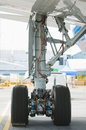 Rear landing gear of wide-body airplane Royalty Free Stock Photo