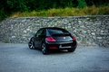 Rear left side view of cabriolet sport german car Royalty Free Stock Photo