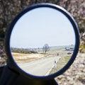 Rear mirror landscape in a of a motorbike Stock Image