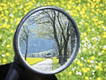 Rear mirror at a motorcycle Royalty Free Stock Images