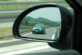 Rear mirror view refflection on the Royalty Free Stock Photography