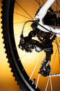 Rear mountain bike cassette on the wheel with chain Stock Photography