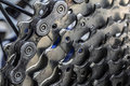 Rear mountain bike cassette on the wheel with chain close up Royalty Free Stock Photography