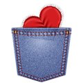 Rear pocket with lace heart blue denim vector illustration Stock Photo