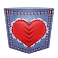 Rear pocket with sewn lace heart blue denim vector illustration Royalty Free Stock Photo
