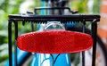 Rear red bicycle light Royalty Free Stock Photo
