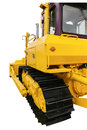 Rear and side views of a bulldozer closeup isolated on white background Royalty Free Stock Photo