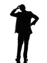 Rear view back thinking business man silhouette one caucasian in on white background Stock Photo