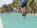 Rear view of bicycle man riding on green track Royalty Free Stock Images